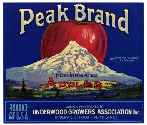 PEAK Brand, Underwood, Washington **AN ORIGINAL APPLE CRATE LABEL** N07