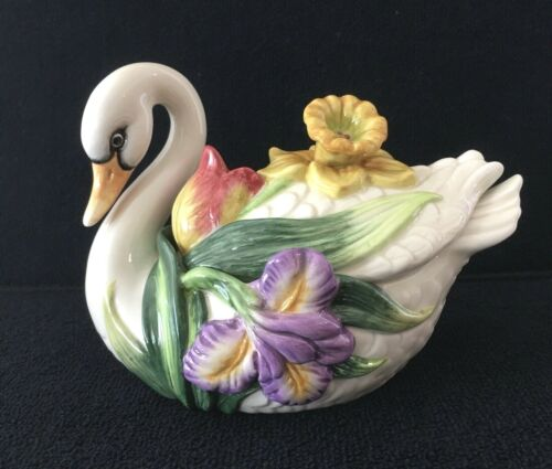 Fitz And Floyd Swan Lidded Floral Trinket Dish With Baby Egg Hatchling Inside