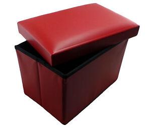 red faux leather ottoman folding storage pouffe kids stool
