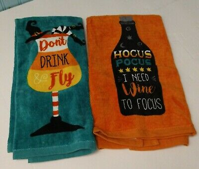 "2-Wine Time Halloween Fun Towels Kitchen Towels Soft Colorful Absorbent 16""/26"""