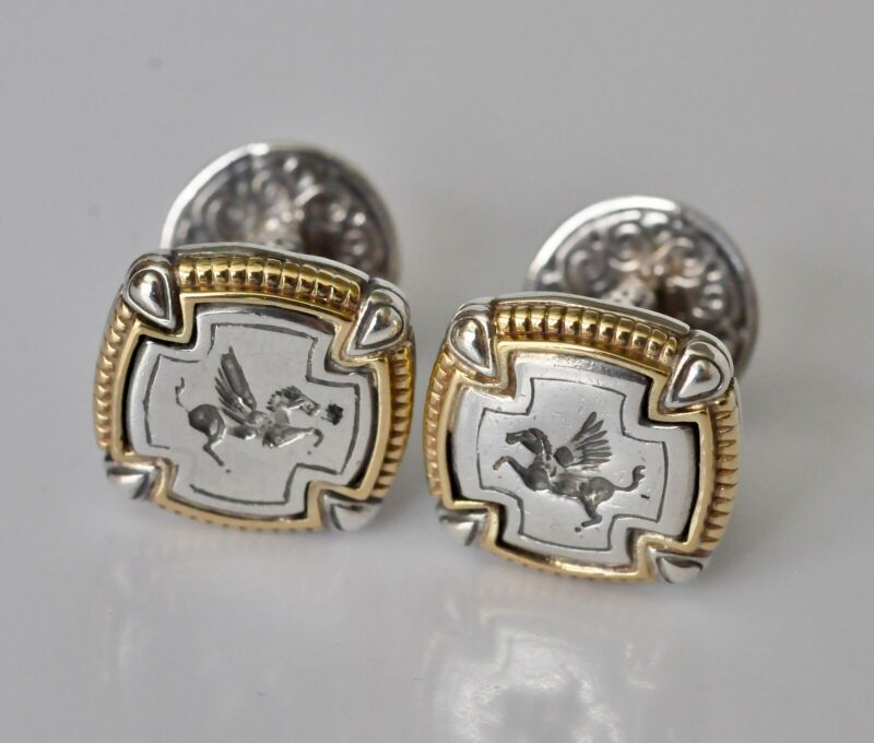 Konstantino Pegasus Small Carved Cufflinks 18K Yellow Gold Sterling Silver New