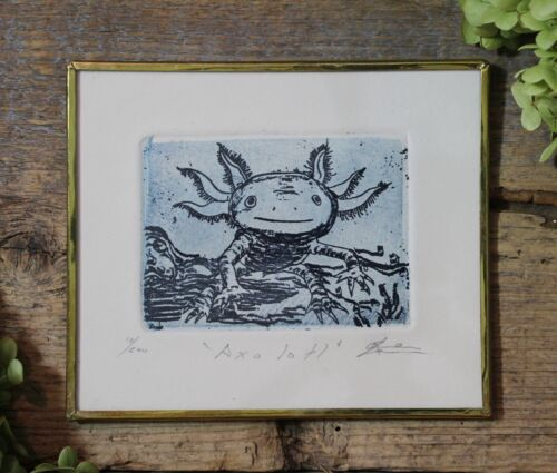Axolotl Mexican Walking Fish Etching Handmade Brass Framed by Abelar Folk Art