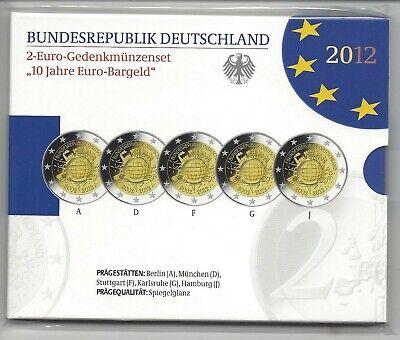 Duitsland -Allemagne 5x2 euro 2012 A,D,F,G,J PROOF_BELLE EPREUVE