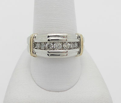 ZALES 1/2CT MENS DIAMOND WEDDING BAND RING 10K TWO TONE GOLD