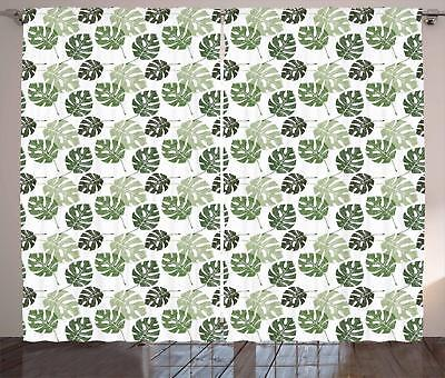 Abstract Leaves Curtains 2 Panel Set for Decor 5 Sizes Avail