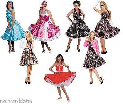 50er Jahre Kleid Kostüm Rock n Roll Petticoat Damen Disco Rockabilly Polka Abend