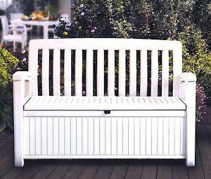 Outdoor Furniture Storage Deck Box Keter 60 Gallon Patio Pool Bench Seat  White