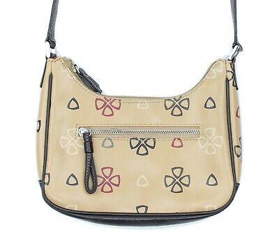 Liz Claiborne Womens Tan Logo Print Mini Shoulder Bag Purse Pocketbook