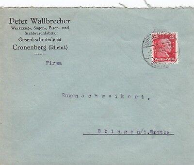 CRONENBERG, Briefumschlag 1927, Peter Wallbrecher Werkzeug-Fabrik
