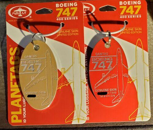 Rare Plane Tag Qantas Boeing 747-400 VH-OJN Gold & Red Tag Pair