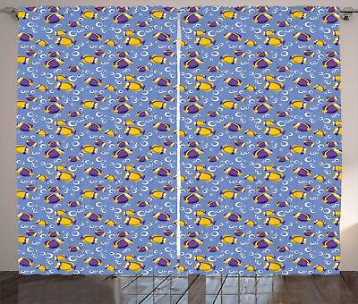 Yellow and Blue Curtains 2 Panel Set for Decor 5 Sizes Available Window Drapes - Blue And Yellow Curtains