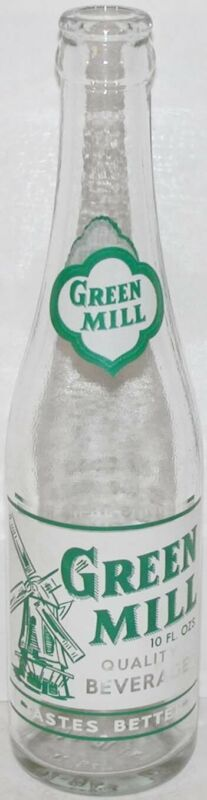Vintage soda pop bottle GREEN MILL BEVERAGES windmill pictured Spring Chicago IL