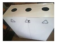White commercial waste cabinets