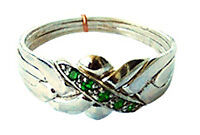 4-Band Sterling Silver PUZZLE RING with Emerald