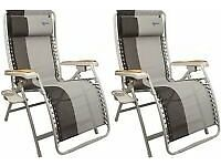 2x KAMPA EXTRAVAGANCE XL AMALIFI DELUXE RELAXER CAMPING / GARDEN LOUNGERS
