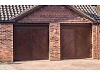 2 x Rosewood coloured fiberglass garage doors