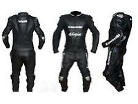 Kawasaki Ninja Black Motorbike Leather Racing Suit, CE Approved Armour
