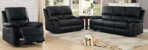 Genuine Leather Match 3PC Black reclining sofa set with white contracting stitching Starting bid: $1,839.00 Regular Reta