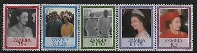 Zambia 1986 Queens 60th Birthday SG 453/7 MNH