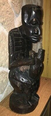 Statue Africa Ethnic Wood D' Ebony Carved Man Seated