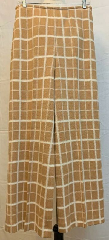 Gino Paoli Bell Bottom Pants Size 16 Wool Blend Tan Checked Vintage 1970s
