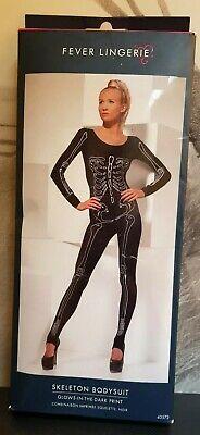 Fever Lingerie Skeleton Bodysuit Glow in the Dark Free Size Halloween - Glow Dark Kostüm