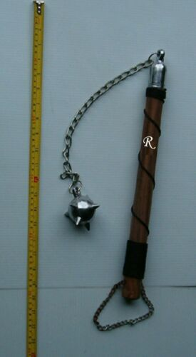 One Ball Battle Wood Handle Battle Mace / Flail ,Medieval Weapon,W/ 1 Initial,