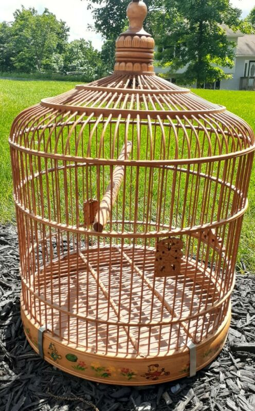 Vintage Wooden Bird Cage, Mickey Mouse Painting, Decoration, Light Weight, Hook
