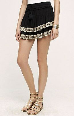 NWT Anthropologie black Embroidery Ribbon Ruffle Skort Skirt Short by Flanne 1/S