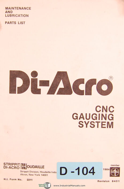 Di Acro Houdaille, Press Brake Gauging System, Maintenance & Parts Manual 1978