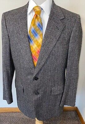Hickey Freeman Canterbury Gray Herringbone Wool Tweed Blazer Sz 40R Jacket