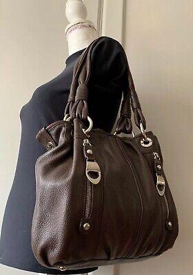 EUC!~ B. Makowsky Chocolate Brown Pebbled Leather Large Shoulder Handbag Purse