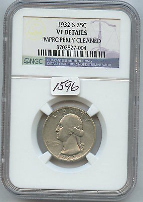 1932-S Washington 25C (#1596) NGC VF Dtls. Cleaned. Strong VF Light Cleaning. Ch