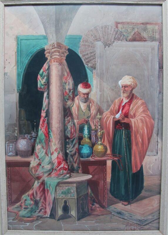 """Fine & Large 27"""" Italian Orientalist Painting CIRO MAZINI, c. 1890  antique"""