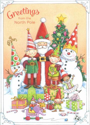 Mary Engelbreit-GREETINGS FROM THE NORTH POLE SANTA ELVES-Christmas Card-NEW!