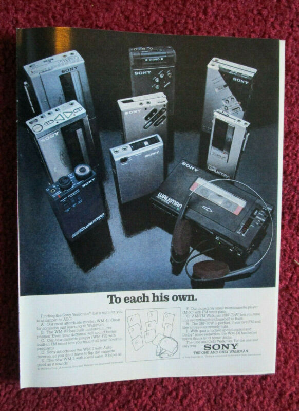 1982 Print Ad Sony Walkman Microcassette Cassette AM/FM Player ~ To Each His Own