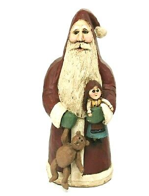 Santa Wood-Look-Resin Red Boyd's Collection Christmas Figurine w. Bear & Doll 9