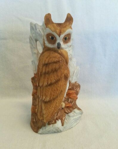 Ceramic Owl Statue Figurine. 9 1/2 inches tall.