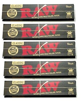 5 Packs Raw Black King Size Slim Rolling Papers Natural Unrefined *BEST