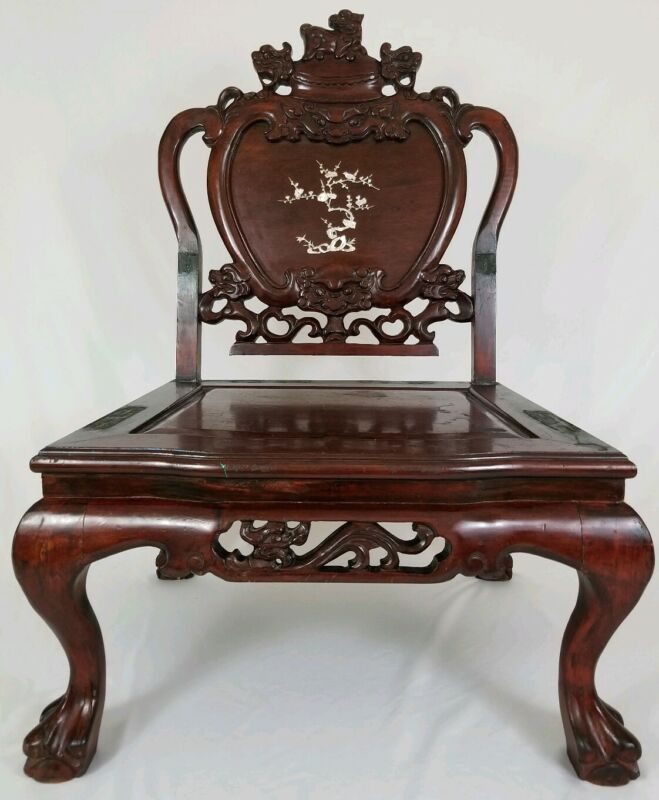Vintage Asian Carved Rosewood Foo Dog Dragon Throne Chair MOP Inlay Chinese