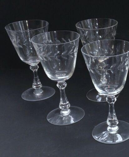 "Lot Of 4 Cambridge Crystal Laurel Wreath 3700 Water Wine Goblet Glass 6 1/2"" EXC"