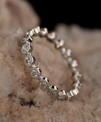 0.35Ct Diamond Eternity Bezel Set Milgrain Wedding Band / Ring in 14k White Gold