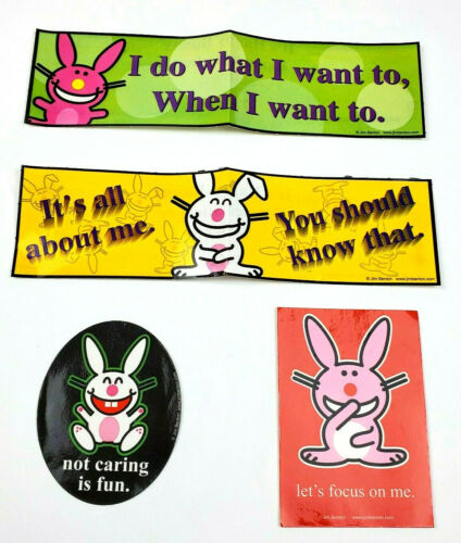 Set of 4 Jim Benton Funny Sarcasm It's Happy Bunny Stickers Series Vending