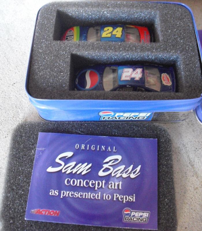 RARE 1999 Action Jeff Gordon #24 Dupont & Pepsi 1999 Monte Carlo Cars in Tin Box