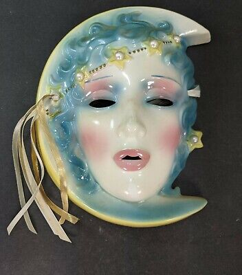 Moon Deco Lady Face A0239B Vintage Ceramic Wall Mask Clay Art SF San Francisco