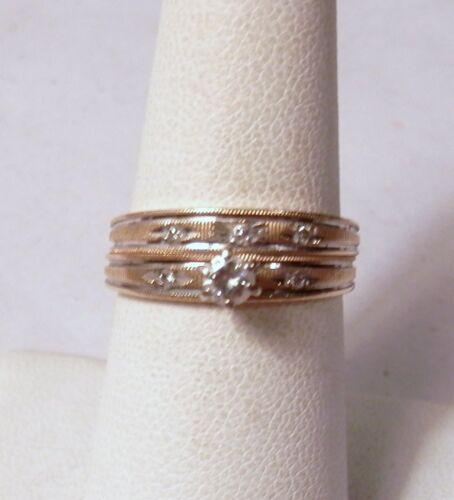 Stunning Diamond Engagement Ring & Band Set 14K Gold 3.7 Grams Size 7.25