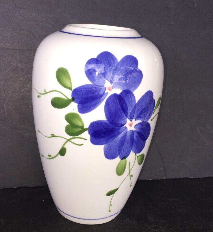 "Vintage White Porcelain Vase Blue Flower Design Taiwan 7"" Tall"