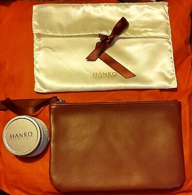 HANRO OF SWITZERLAND LEATHER CLUTCH BURGUNDY BAG POUCH SCENTED CANDLE GIFT SET