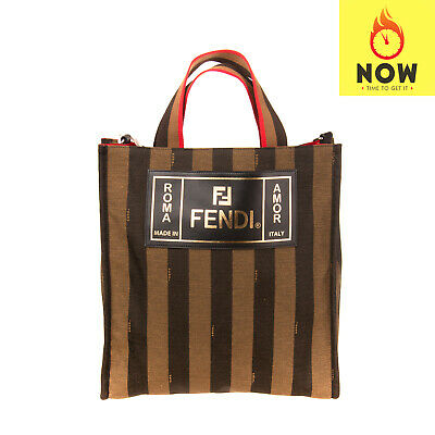 RRP €460 FENDI ROMA Tote Bag Leather Details Striped Open Top Made in Italy Open Top Striped Tote