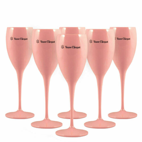 Veuve Clicquot Pink Rose Acrylic Champagne Flute Glass x 6 New